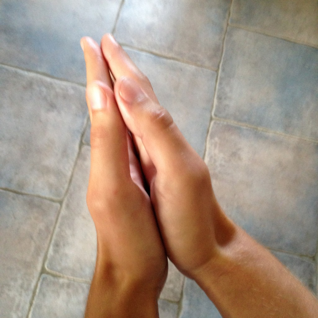 Rubbing your hands together for stabilization
