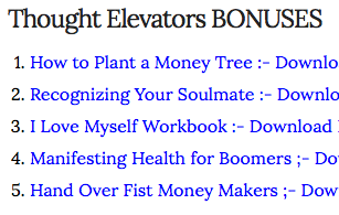 Thought elevators review of bonuses